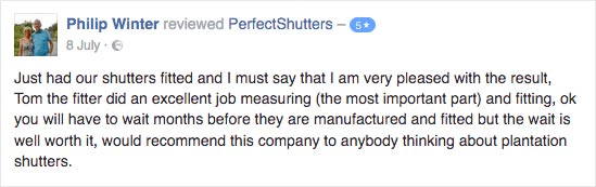 Perfect Shutters Facebook Comment