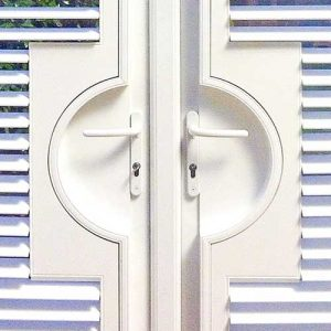 Image of French Door Shutter handle and lock cut-out in North West UK installed by Perfect Shutters