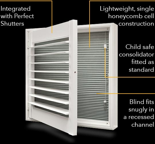 Blackout Plantation Shutter with integrated shade