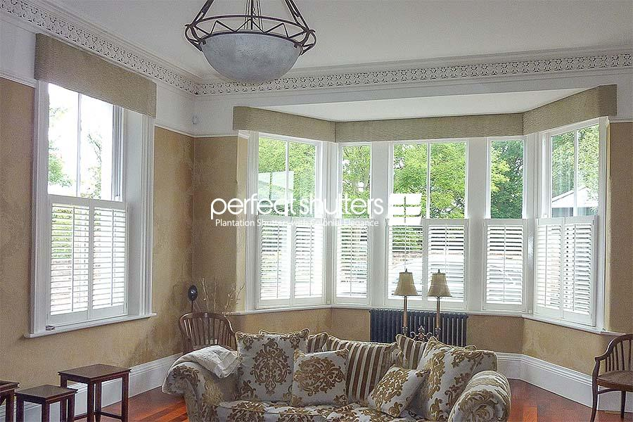 Cafe style shutters in beautiful living room