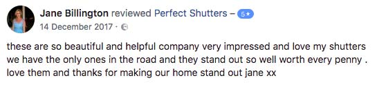 Perfect Shutters Facebook Review