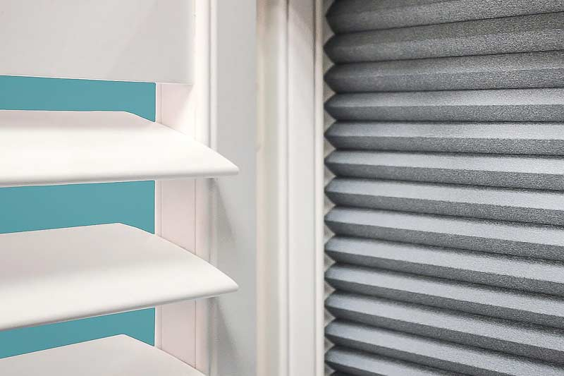 Image of a Blackout Plantation Shutter with integrated shade