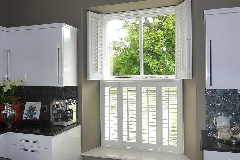 Image of Tier on Tier Shutters in a kitchen, North West UK installed by Perfect Shutters