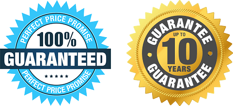 Image of Perfect Shutters Price Promise and 10 Year Guarantee badges