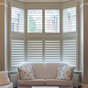 Image of a Bay Window Plantation Shutter