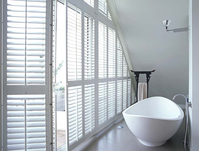 Bathroom Plantation Shutter, North West UK by Perfect Shutters