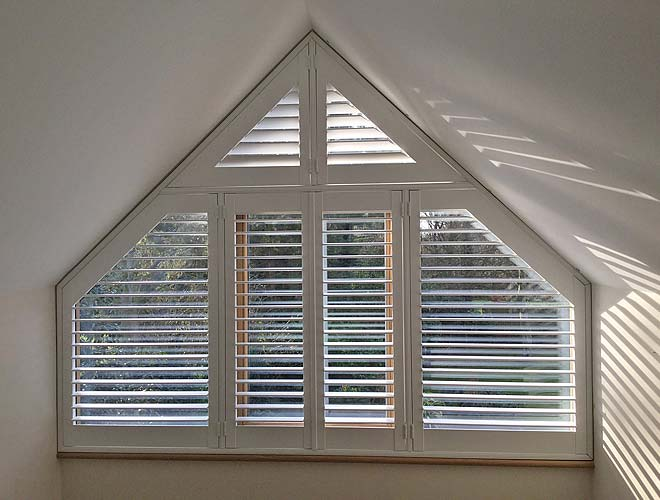Image of a Custom Shape Plantation Shutter, North West UK by Perfect Shutters