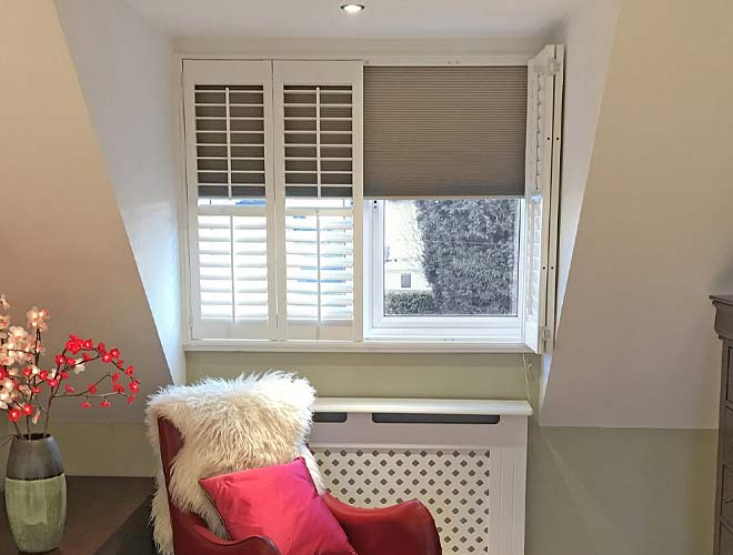 Image of a Plantation Shutter with a Blackout Blind, North West UK by Perfect Shutters