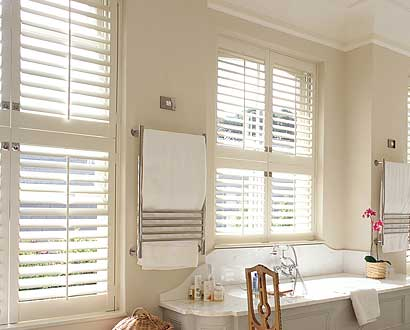 Stylish bathroom shutters
